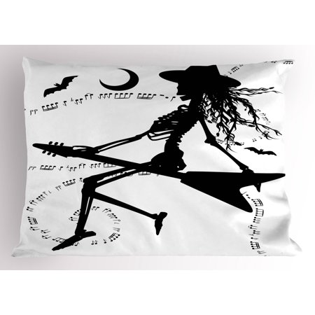Music Class Halloween Activities (Music Pillow Sham Witch Flying on Electric Guitar Notes Bat Magical Halloween Artistic Illustration, Decorative Standard Size Printed Pillowcase, 26 X 20 Inches, Black White, by)