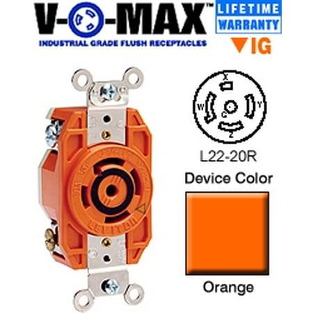 Flush Outlet - Leviton 2520-IG L22-20R Locking Flush Receptacle - Orange