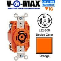 Leviton 2520-IG L22-20R Locking Flush Receptacle - Orange