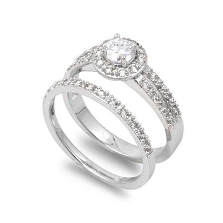 Sterling Silver Designer Engagement Ring ( Sizes 5 6 7 8 9 10 ) Wedding Band Bridal Set Rings (Size -