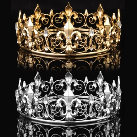 King Crown For Sale (Meigar Full Circle Men's Crown Imperial Medieval Tiara Fleur De Lis Gold King Crown Pageant)