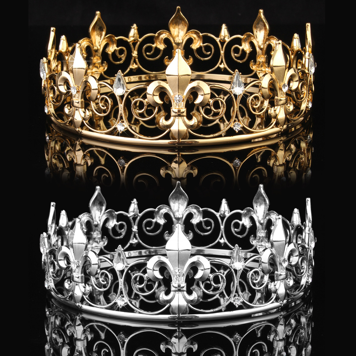 Meigar Full Circle Men's Crown Imperial Medieval Tiara Fleur De Lis Gold King Crown Pageant Party