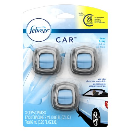 Febreze Car Air Freshener Vent Clips, Linen & Sky, 3 Count
