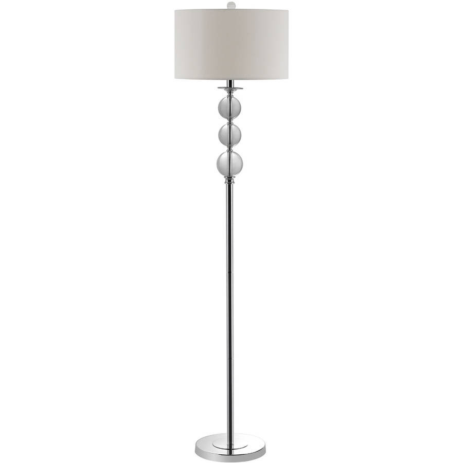 Safavieh Pippa Glass Globe Floor Lamp with CFL Bulb, Clear with Off-White Shade