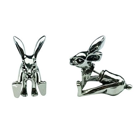 Art Attack Silvertone Sitting Bunny Rabbit Hare Front Back Detailed Twins Animal Lover Stud Post Earrings Easter Bunny Rabbit Earrings