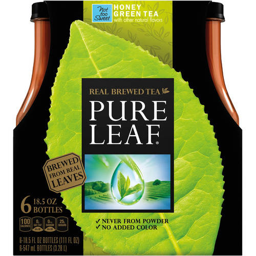 Pure Leaf Real Brewed Tea, Not Too Sweet Honey Green Tea, 6 Count, 18.5 fl oz Bottles