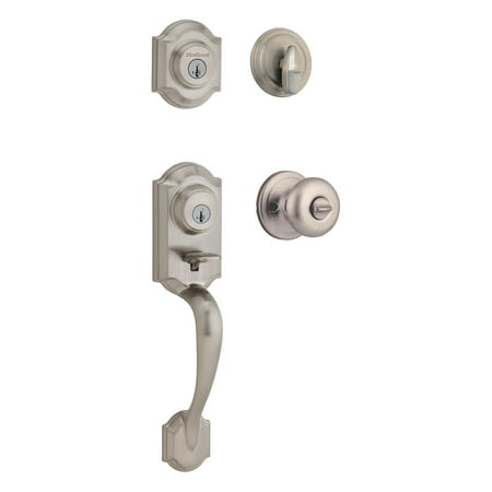 Kwikset 95530-018 Satin Nickel Montara Two-Point Locking Single Cylinder Handleset With Juno (Buckingham Handleset)