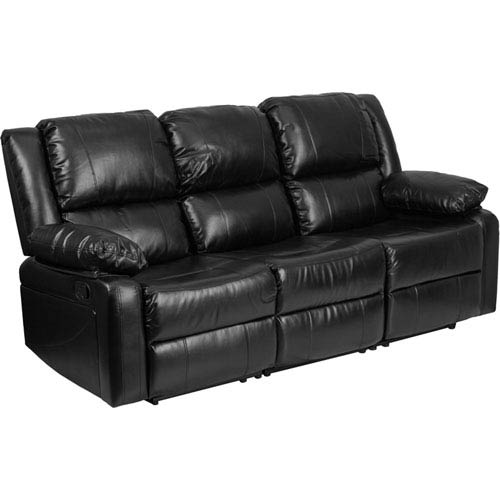 Harmony Black Leather Sofa with Two Built-In Recliners