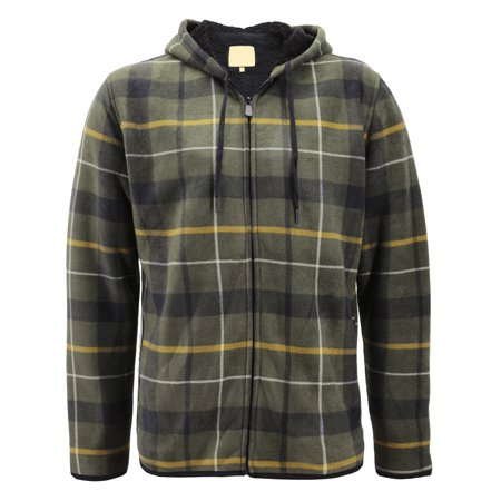 Men's Fleece Zip Up Hooded Sweatshirt Plaid Soft Sherpa Lined Lightweight Jacket (Olive/Khaki, L) (Flannel Lined Action Jacket)
