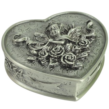 3 Inch Heart Jewelry Pills Box Cherub Roses Cast Metal Pewter Home Office Décor
