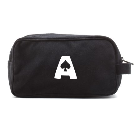 Ace of Spades Canvas Dual Two Compartment Travel Toiletry Dopp Kit Bag thumbnail