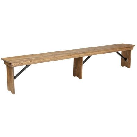 Flash Furniture HERCULES Series 8' x 12'' Antique Rustic Solid Pine Folding Farm Bench with 3 Legs ()