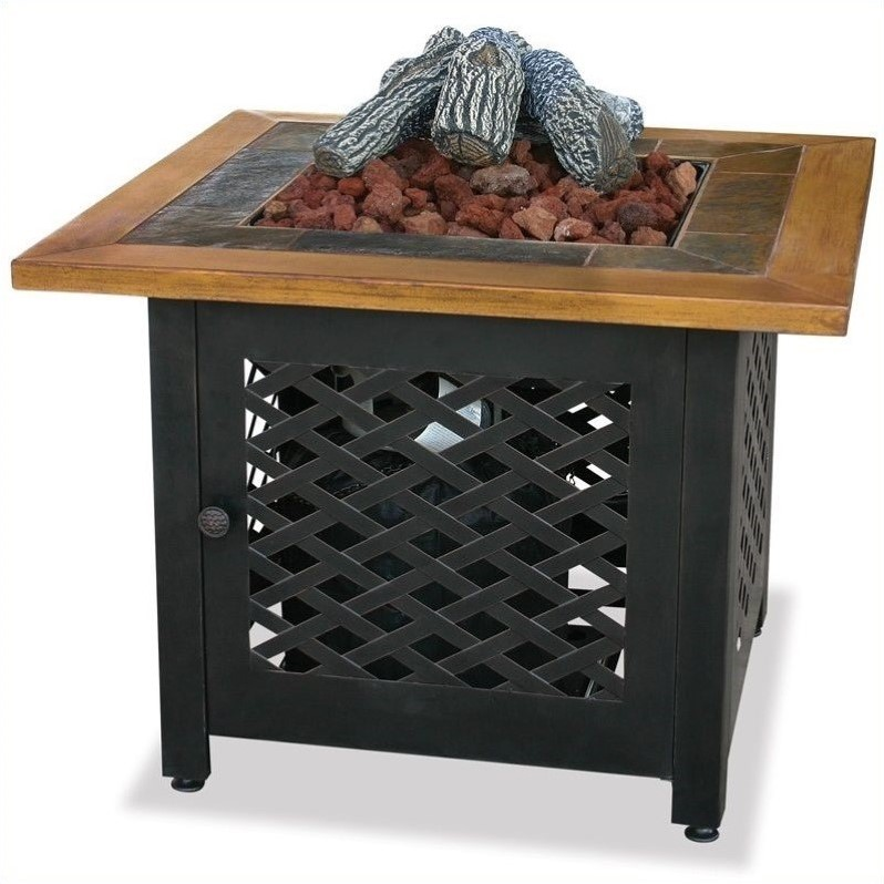 Square LP Gas Fire Pit Bowl with Slate and Faux Wood Mantel