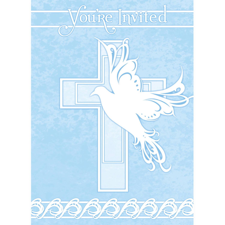 Blue Dove Cross Religious Invitations, 8ct