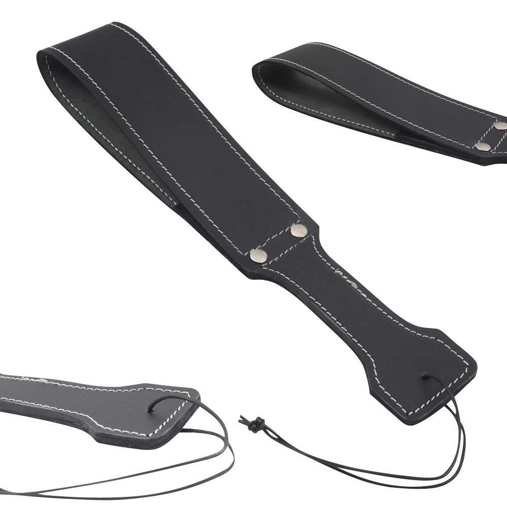 Real Cow Hide Belting Leather Paddle Slapper Double Strap Thick & Weighty