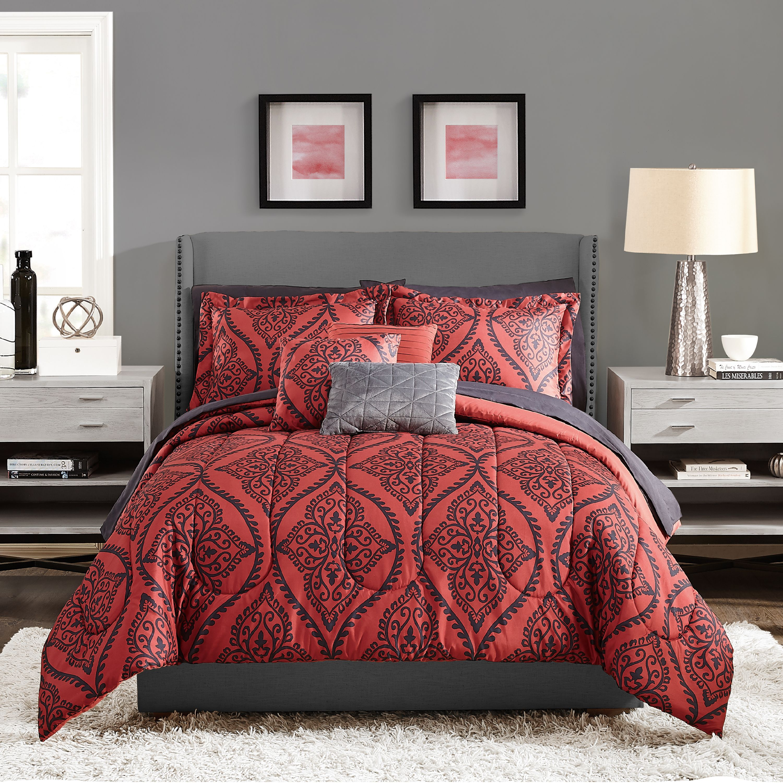 Red Black 10 Piece Bed In A Bag Bedding Set Comforter Sheets Bedroom Queen Size Ebay