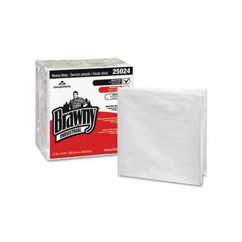 Brawny Industrial Heavy-duty Quarterfold Shop Towels, 13 X 13, White, 70/pack...