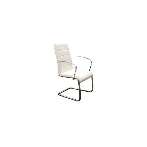 Casabianca Avenue Leather Dining Armchair in White by Casabianca Home