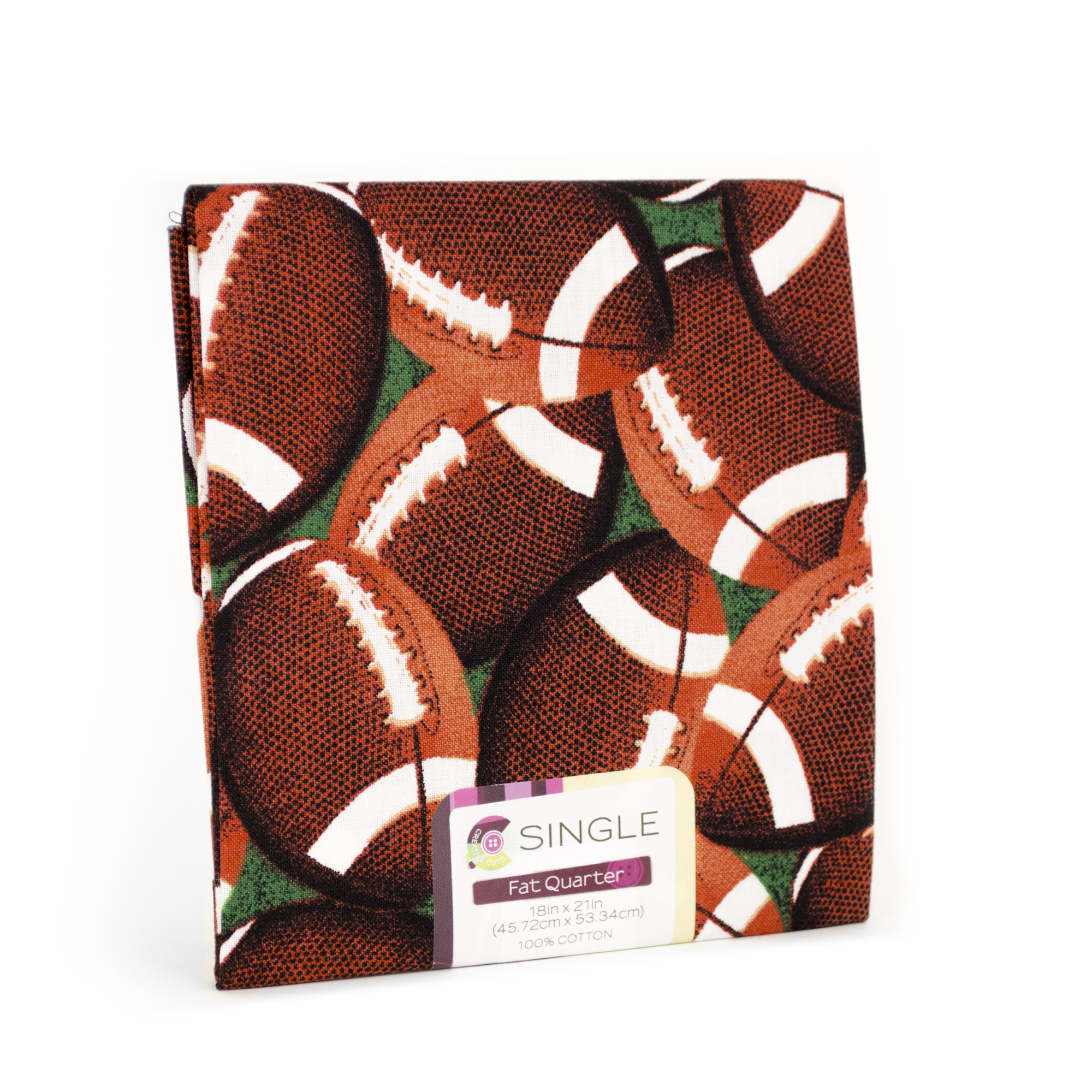 "Fabric Editions- Cotton Fabric, Fat Quarter, 18"" x 21"" FOOTBALL KELLY"