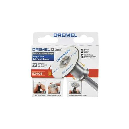 - Dremel EZ406-02 1 1/2-Inch EZ Lock Rotary Tool Cut-Off Wheel and Mandrel Metal Cutting Starter Kit