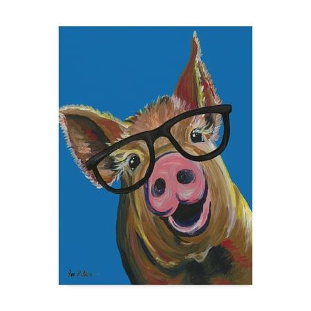 Trademark Fine Art 'Pig Wilbur Glasses Blue' Canvas Art by Hippie Hound Studios