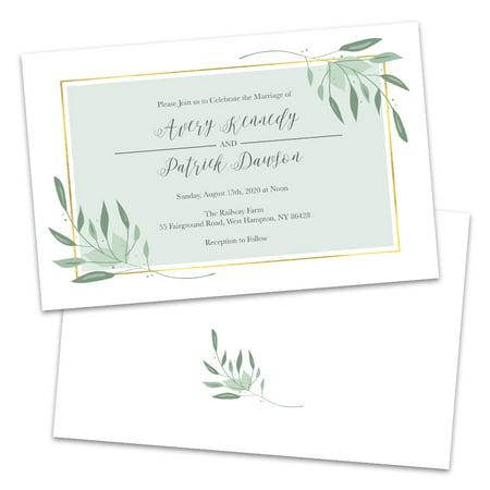 Green Wedding Invitations (Personalized Pale Sweet Green Wedding)