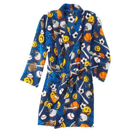 Joe Boxer Boys Plush Blue Sports Theme Bath Robe Fleece House Coat (Boxer In Robe)