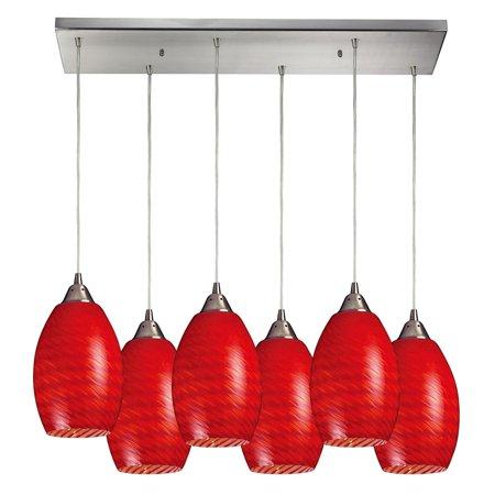 Elk Lighting Mulinello 517 Linear Glass 6 Light Pendant