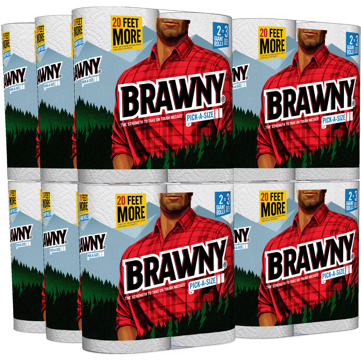 Brawny Pick-A-Size Paper Towels Giant Rolls, 117 sheets, 2 rolls (Pack of 12)