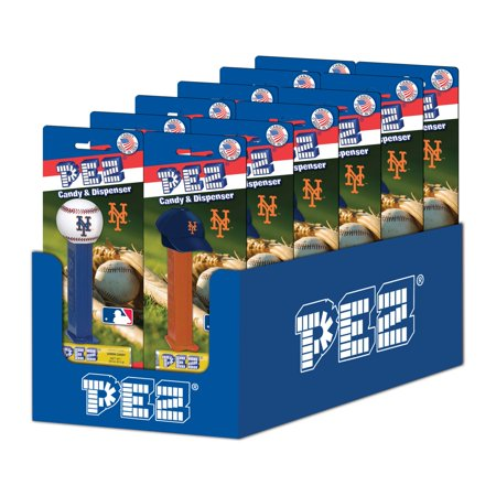 PEZ Candy MLB: New York Mets, candy dispenser with 3 rolls of assorted fruit candy, box of 12](Halloween Candy New York)