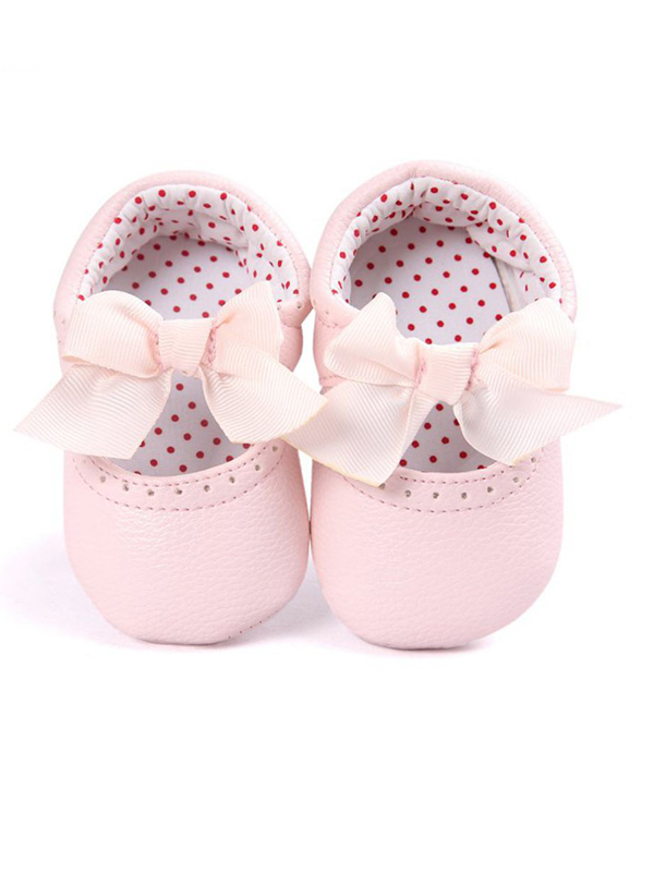Lavaport 0-18M Baby Girl PU Leather Princess Bowknot Anti-slip Shoes