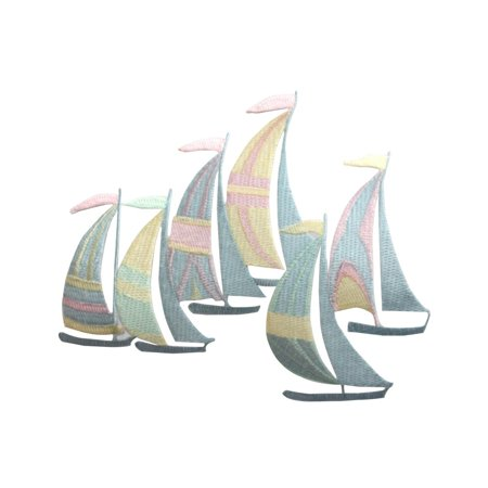 Large Multi Colored (ID 5071 Multi Colored Sail Boats Large Patch Ocean Embroidered Iron On Applique )