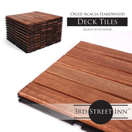 "Deck Tiles - Patio Pavers - Acacia Wood Outdoor Flooring - Interlocking Patio Tiles - 12""x12"" (20 Pack) - Oiled Acacia Finish - Straight Pattern Decking"