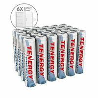 Combo:24 pcs Tenergy Premium AAA 1000mAh NiMH Rechargeable Batteries + 6 AAA Size Holders
