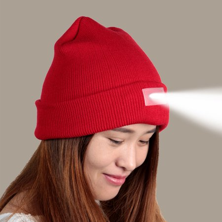 58b359b7a08 Unisex Knitted Beanie With Built In 5 LED Headlamp Flashlight - Walmart.com