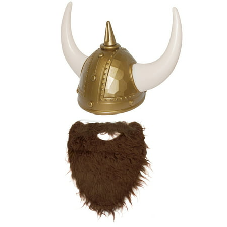 Nordic Viking Helmet Brown Beard Medieval Warrior Cosplay Costume Accessory (Toy Viking Helmet)