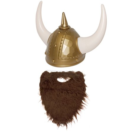 Nordic Viking Helmet Brown Beard Medieval Warrior Cosplay Costume Accessory - Vicking Helmet