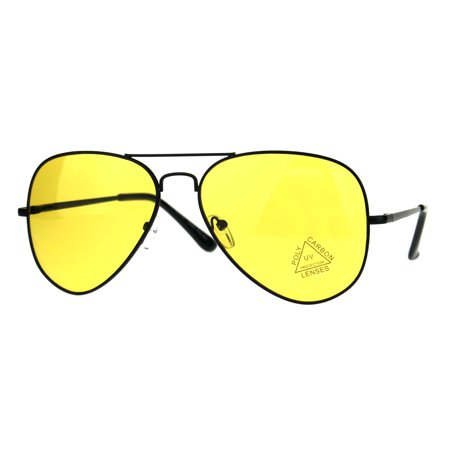 Mens Yellow Color Mirror Metal Rim Pilots Officer Sunglasses Black
