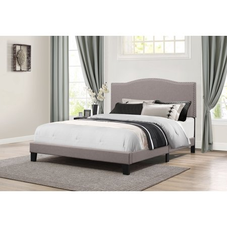 Hillsdale Furniture Kiley Upholstered Platform Bed, Nailhead Trim Headboard, Multiple (Stone County French Country Bed)