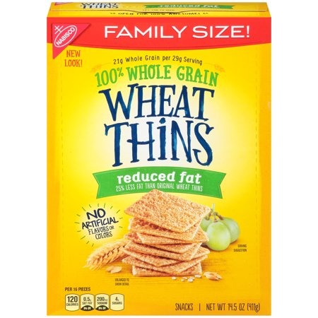 Nabisco Wheat Thins Reduced Fat Snack Crackers, 14.5