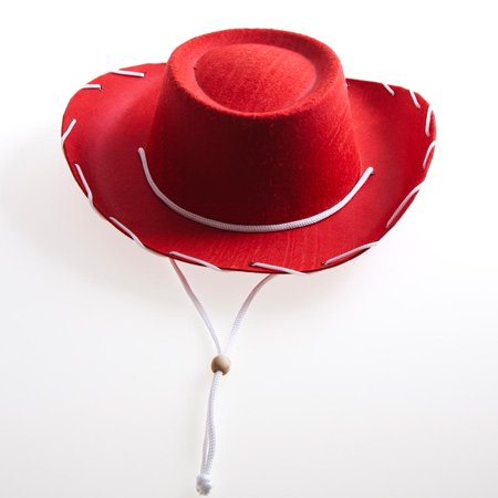 Children's Red Felt Cowboy Hat (Felt Hat With Feather)