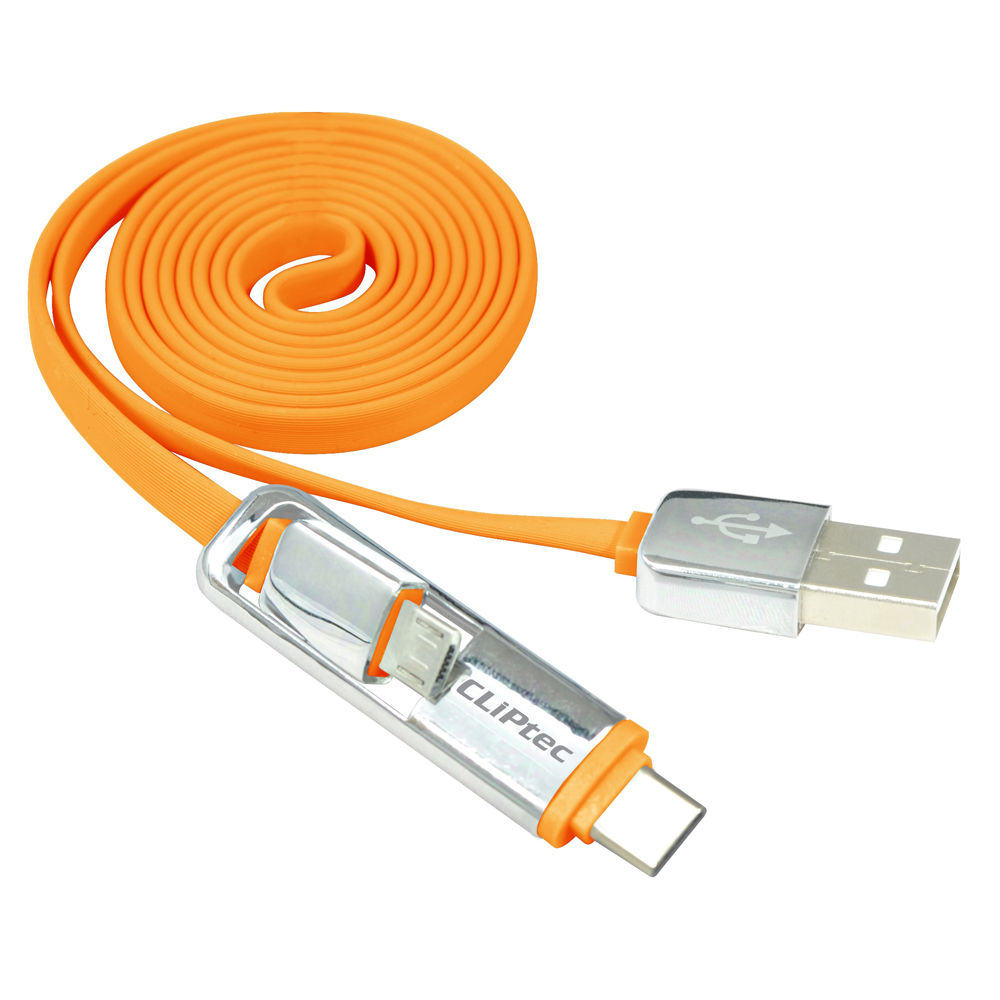 Cliptec 1m 3ft Orange Dual-Micro USB 2.0 Micro B + Type C Data Charging Cable
