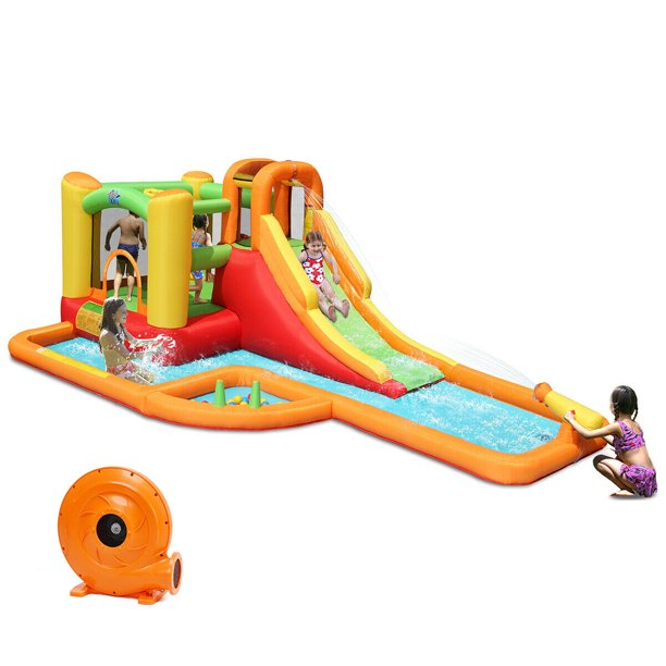 Gymax Inflatable Splash Water Park Bounce House Jump Slide Bouncer