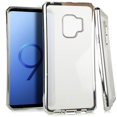 MUNDAZE Silver Metallic Edge Deluxe Candy TPU Case For Samsung Galaxy S9 Phone