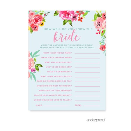 Wedding Pink Roses English Tea Party, 20-Pack How Well Do You Know the Bride? Bridal Shower Games - Tea Party Themed Bridal Shower