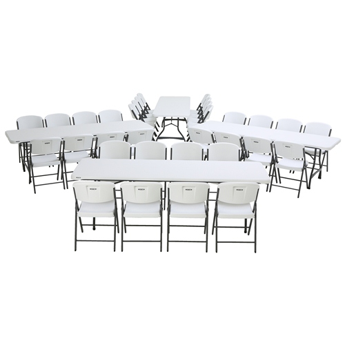 Lifetime (4) 8-Foot Stacking Tables and (32) Chairs Combo (Commercial), 80410