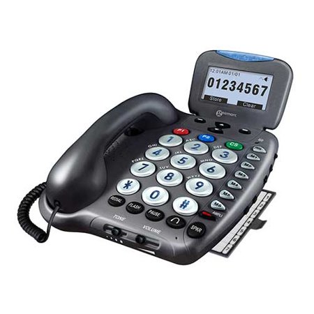 Geermac Ampli550- Amplified Corded Phone Single Line Operation Amplified Talking Caller ID and Talking Keys Telephone