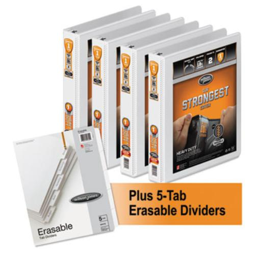 "Acco 56314WU Heavy-duty Round Ring View Binder 4-pack W/5-tab Divider Set, 1"" Cap., White"