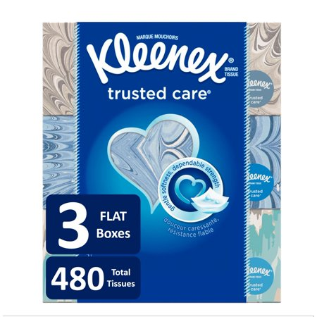 Kleenex Trusted Care Everyday Facial Tissues, 160 Tissues per Flat Box, 3 Pack (480 Tissues (Rayon Tissue)
