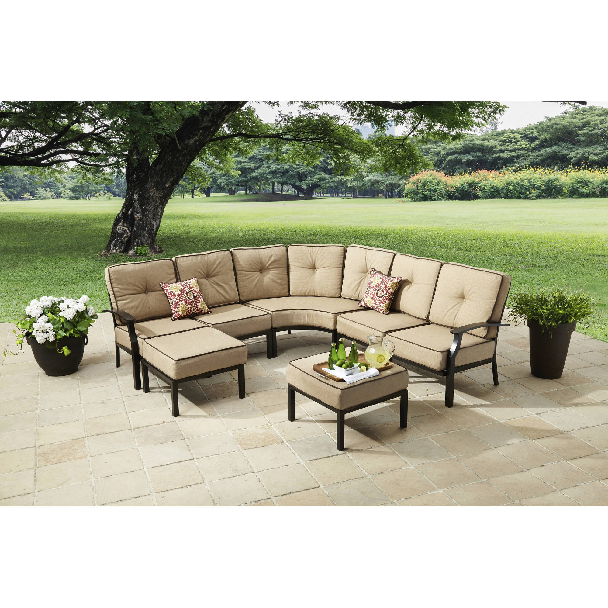 Better Homes And Gardens Carter Hills 7 Piece Outdoor Sectional Sofa Set,  Seats 5